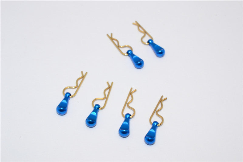Body Clips + Aluminum Mount For 1/36 To 1/16 Models - 6Pcs Set Blue