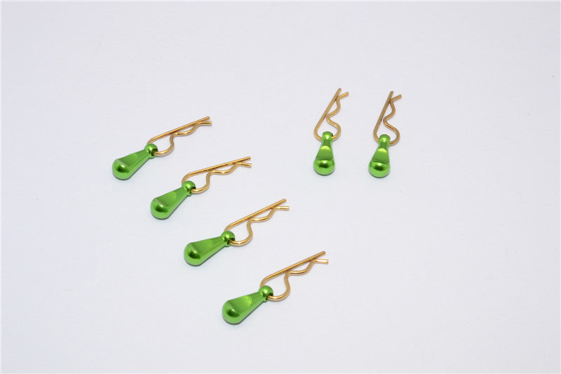 Body Clips + Aluminum Mount For 1/36 To 1/16 Models - 6Pcs Set Green