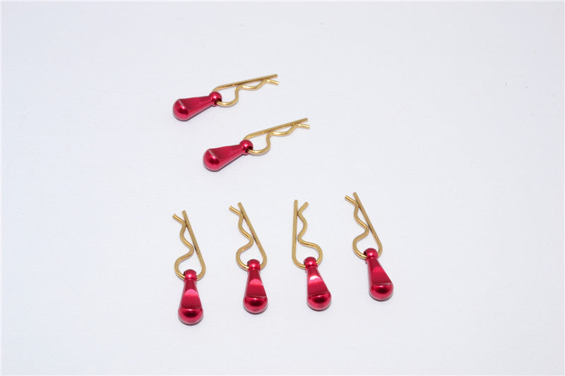 Body Clips + Aluminum Mount For 1/36 To 1/16 Models - 6Pcs Set Red