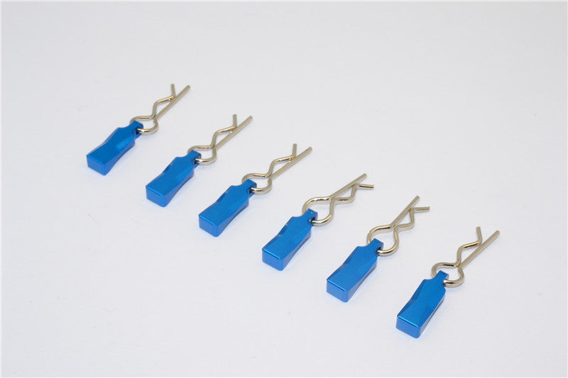 Body Clips + Aluminum Mount For 1/10 To 1/8 Models - 6Pcs Set Blue