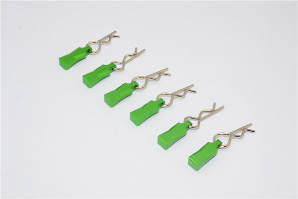 Body Clips + Aluminum Mount For 1/10 To 1/8 Models - 6Pcs Set Green