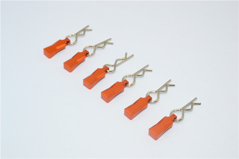 Body Clips + Aluminum Mount For 1/10 To 1/8 Models - 6Pcs Set Orange