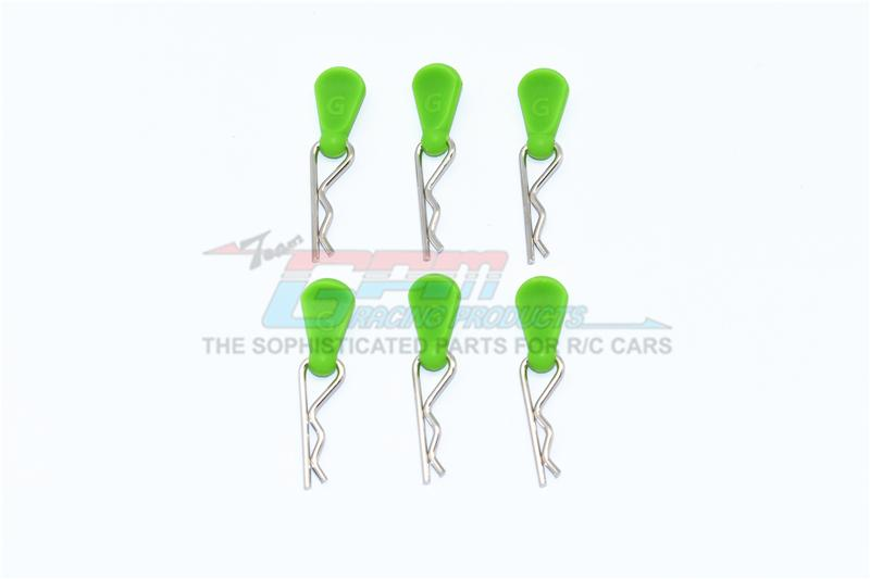 Body Clips + Silicone Mount For 1/5 To 1/8 RC Cars - 6Pc Set Green