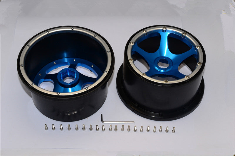HPI Baja 5B RTR, 5B SS, 5T Nylon Rear Rims Frame With Aluminum 5 Star Beadlock - 1Pr Set Blue