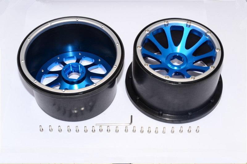 HPI Baja 5B RTR, 5B SS, 5T Nylon Rear Rims Frame With Aluminum 10 Poles Pattern - 1Pr Set Blue