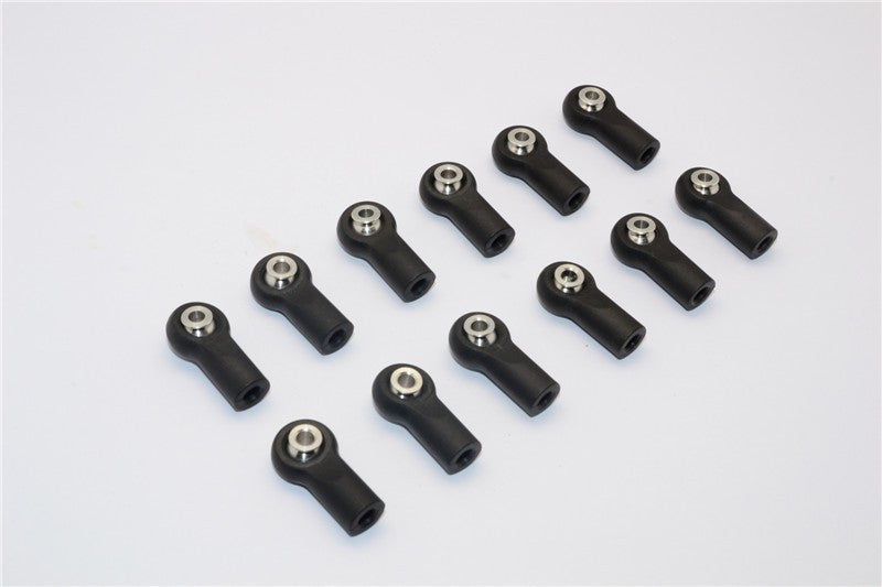 Nylon Ball Links With 6.8X3X7.4mm Balls (16mm Long) For 1/10 Scale 4mm Clockwise And Anticlockwise Turnbuckle - 12Pcs Set Black