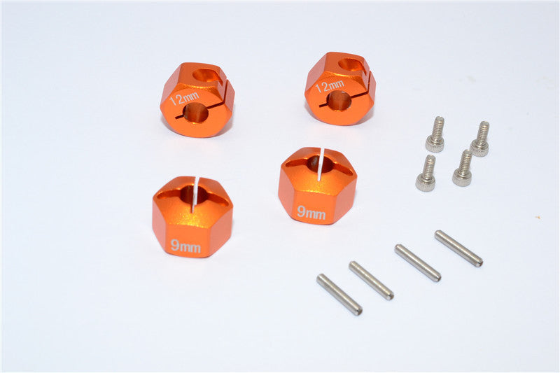 HPI Bullet 3.0 Nitro & Bullet Flux Aluminum Hex Adapter 12mm Diameter With 9mm Thickness For GPM Optional EXO Wheels EX0503FR & EX1003FR - 4Pcs Set Orange