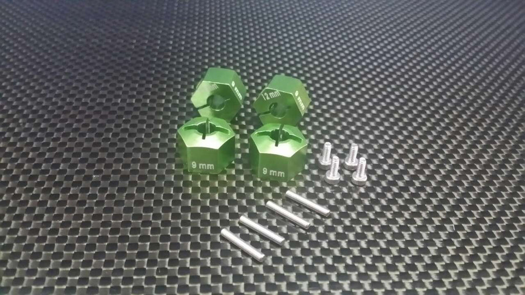 HPI Bullet 3.0 Nitro & Bullet Flux Aluminum Hex Adapter 12mm Diameter With 9mm Thickness - 4 Pcs Set Green