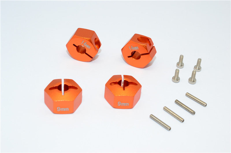 HPI Bullet 3.0 Nitro & Bullet Flux Aluminum Hex Adapter 14mm Diameter With 9mm Thickness - 4 Pcs Set Orange
