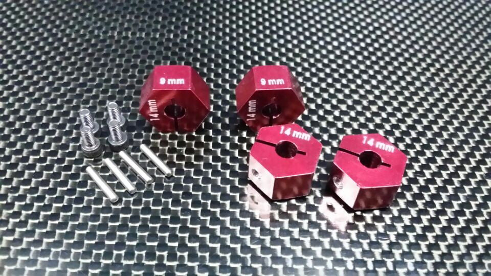 HPI Bullet 3.0 Nitro & Bullet Flux Aluminum Hex Adapter 14mm Diameter With 9mm Thickness - 4 Pcs Set Red