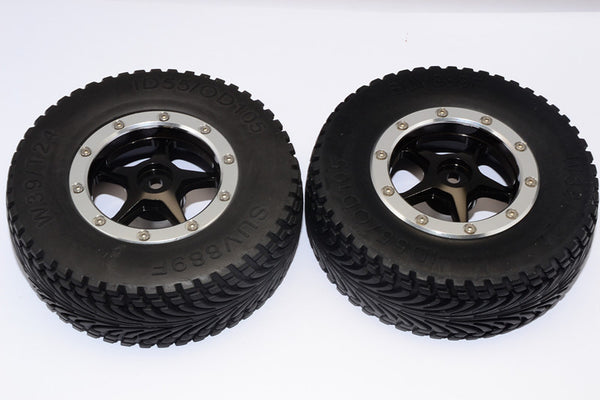 HPI Bullet Nitro 3.0 Rubber Front Tires With Nylon Rims Frame & Aluminum 5 Star Beadlock Rims & 12X9mm Drive Adapters - 1Pr Set Black