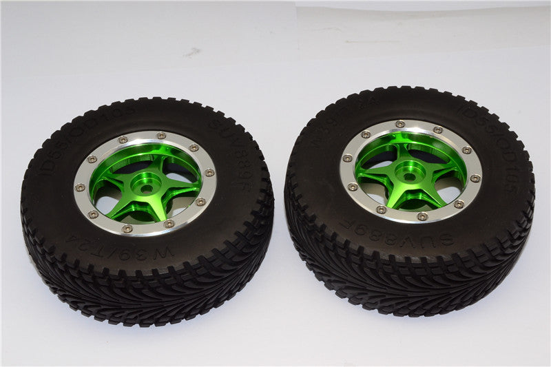 HPI Bullet Nitro 3.0 Rubber Front Tires With Nylon Rims Frame & Aluminum 5 Star Beadlock Rims & 12X9mm Drive Adapters - 1Pr Set Green