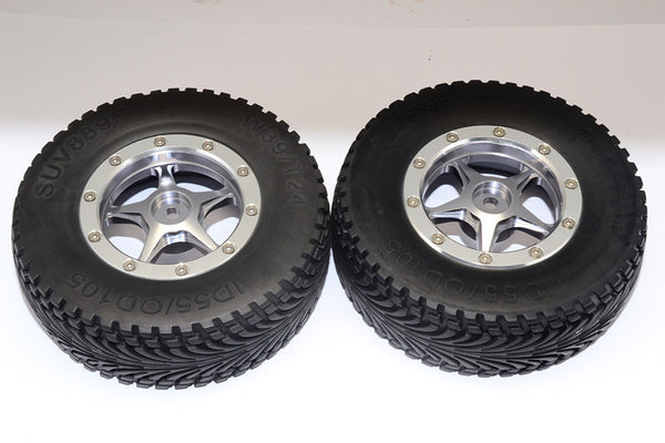 HPI Bullet Nitro 3.0 Rubber Front Tires With Nylon Rims Frame & Aluminum 5 Star Beadlock Rims & 12X9mm Drive Adapters - 1Pr Set Gray Silver