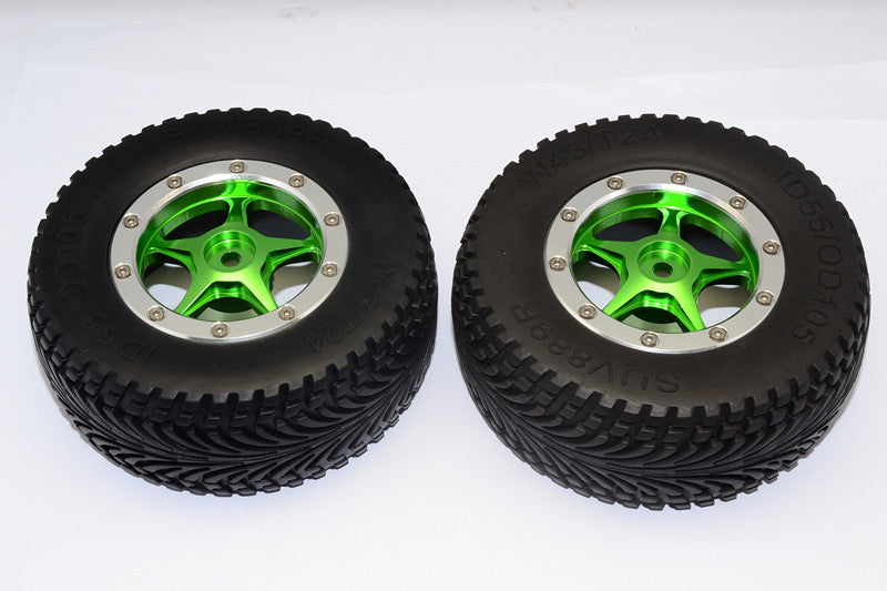 HPI Bullet Nitro 3.0 Rubber Rear Tires With Nylon Rims Frame & Aluminum 5 Star Beadlock Rims & 12X9mm Drive Adapters - 1Pr Set Green
