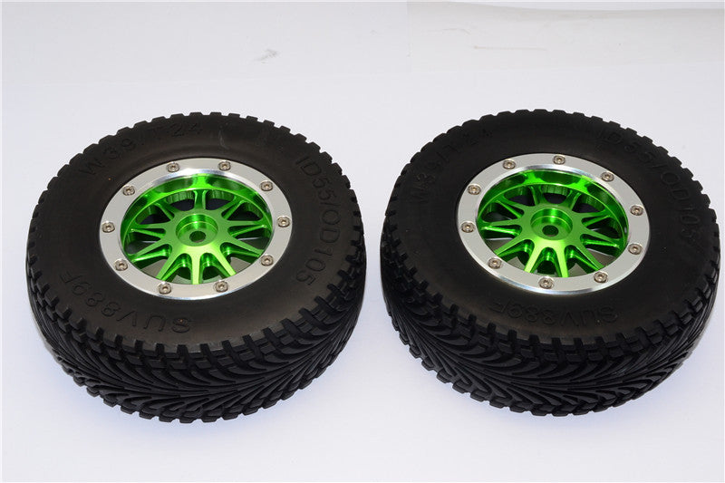 HPI Bullet Nitro 3.0 Rubber Front Tires With Nylon Rims Frame & Aluminum 10 Poles Beadlock Rims & 12X9mm Drive Adapters - 1Pr Set Green