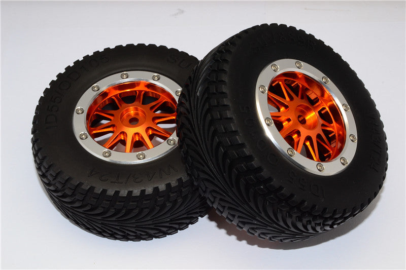 HPI Bullet Nitro 3.0 Rubber Rear Tires With Nylon Rims Frame & Aluminum 10 Poles Beadlock Rims & 12X9mm Drive Adapters - 1Pr Set Orange