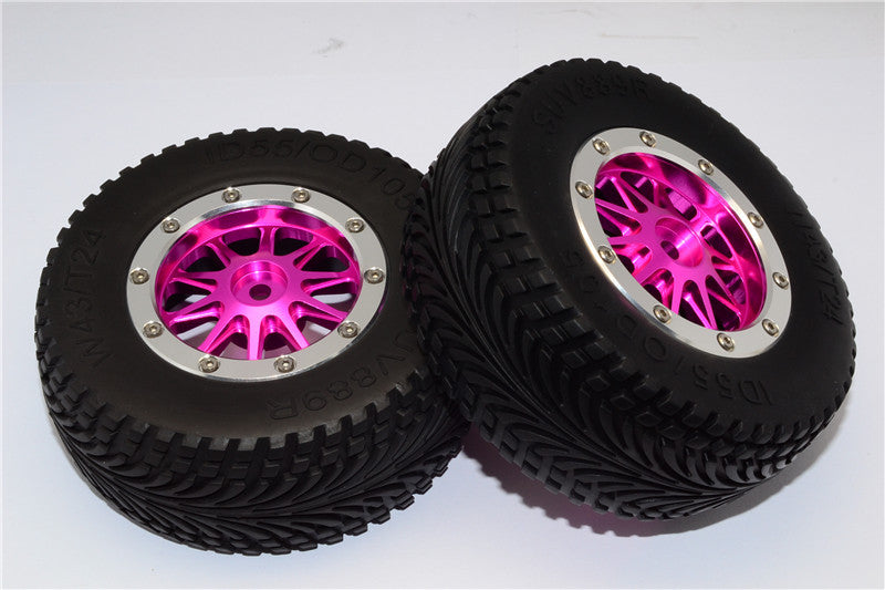 HPI Bullet Nitro 3.0 Rubber Rear Tires With Nylon Rims Frame & Aluminum 10 Poles Beadlock Rims & 12X9mm Drive Adapters - 1Pr Set Pink