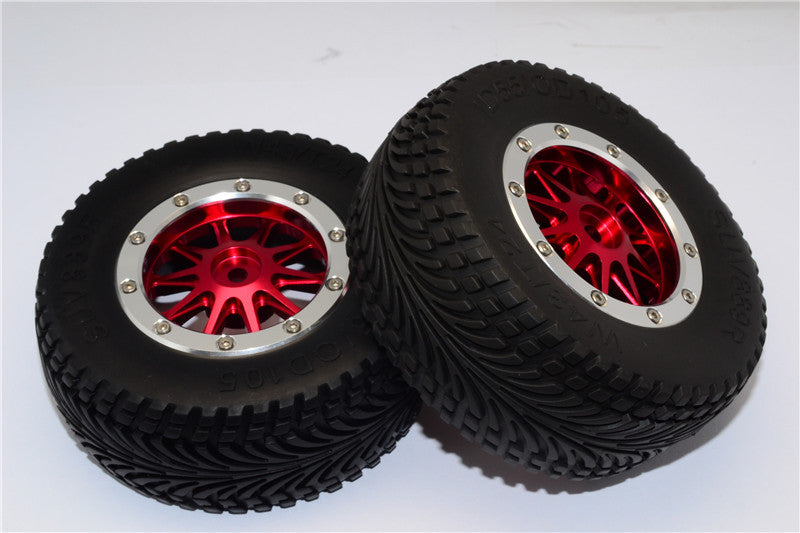 HPI Bullet Nitro 3.0 Rubber Rear Tires With Nylon Rims Frame & Aluminum 10 Poles Beadlock Rims & 12X9mm Drive Adapters - 1Pr Set Red