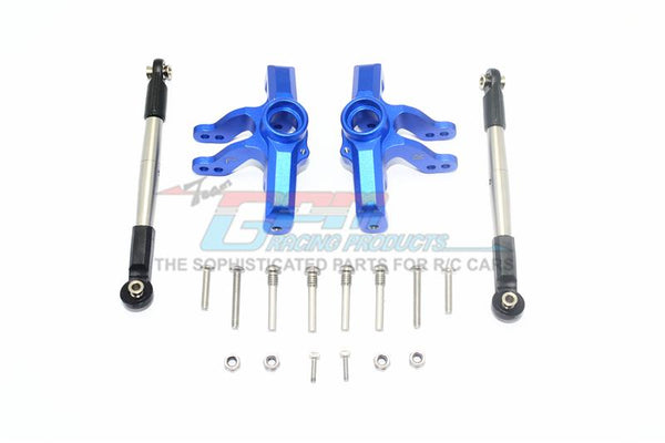 Losi 1/10 Baja Rey 4WD Desert Truck (LOS03008) Aluminum Front Knuckle Arm + Stainless Steel Adjustable Tie Rods - 18Pc Set Blue