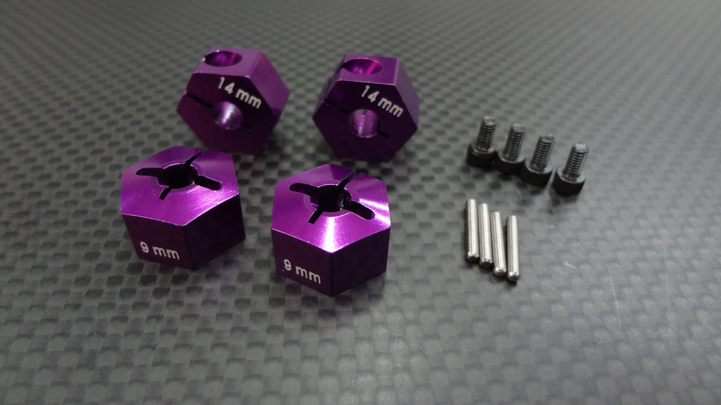HPI Bullet ST Flux & MT Flux Aluminum Hex Adapter 12mm Diameter With 9mm Thicker (For Gpm Optional Exo Wheels EX0503FR & EX1003FR) - 4 Pcs Set Purple