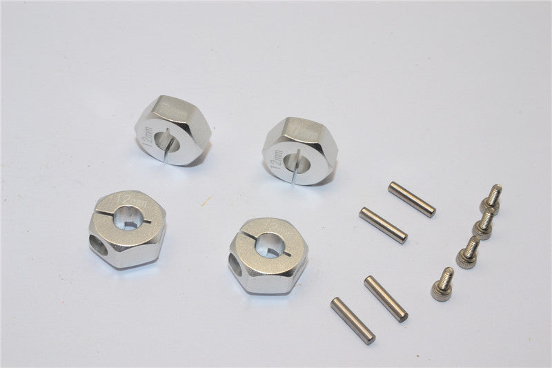 Tamiya CC01 Aluminum Hex Adapter (12mmx7mm) - 4 Pcs Set Silver