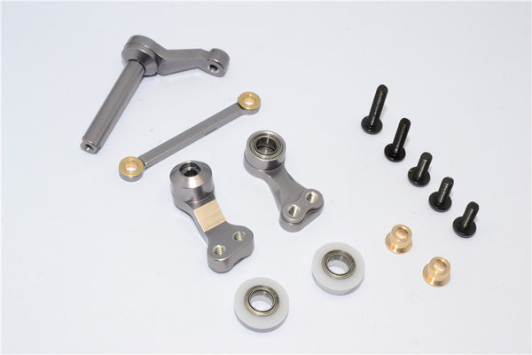 Tamiya CC01 Aluminum Steering Assembly - 1Set Gray Silver
