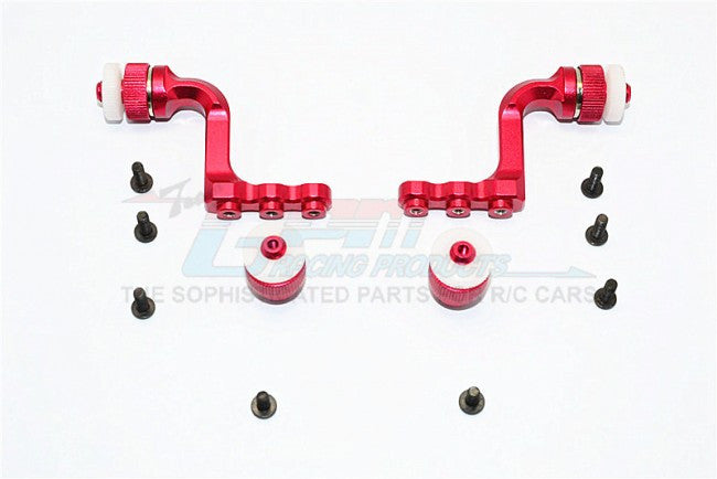 Tamiya CC01 Aluminum Front+Rear Magnet Body Mount For CC01 Mitsubishi Pajero - 1 Set Red