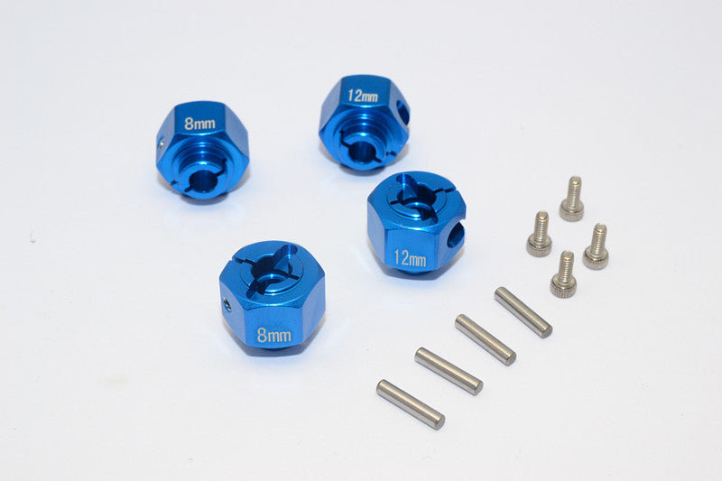 HPI Crawler King Aluminum Hex Adapter (12X8mm) - 4 Pcs Set Blue