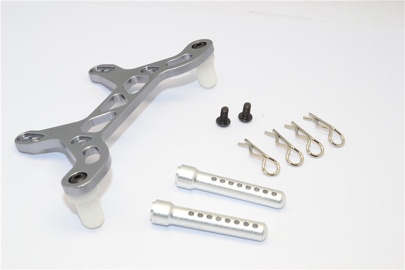HPI Crawler King Aluminum Rear Body Mount With Delrin Posts - 1Pc Set Gray Silver