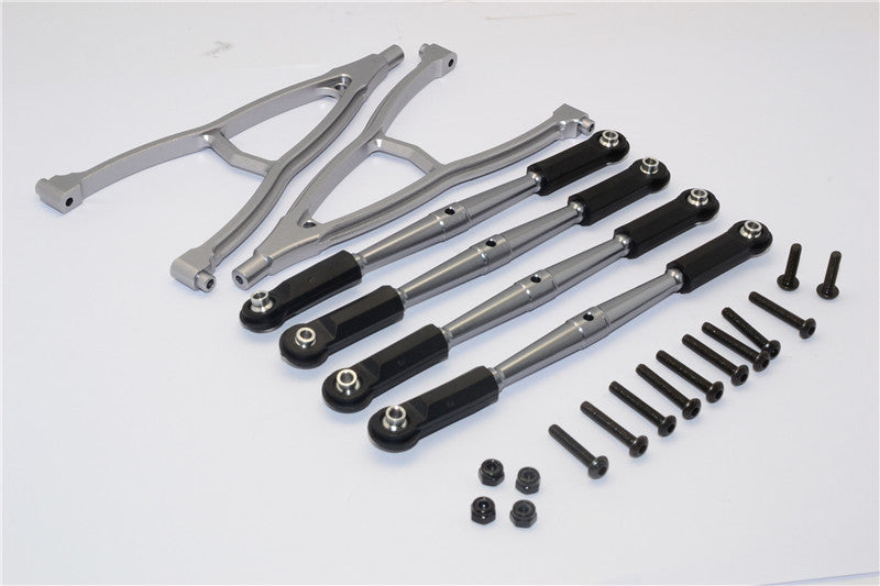 HPI Crawler King Aluminum Front+Rear Y Plate & Link Parts (For 295mm Wheelbase) - 6Pcs Set Gray Silver