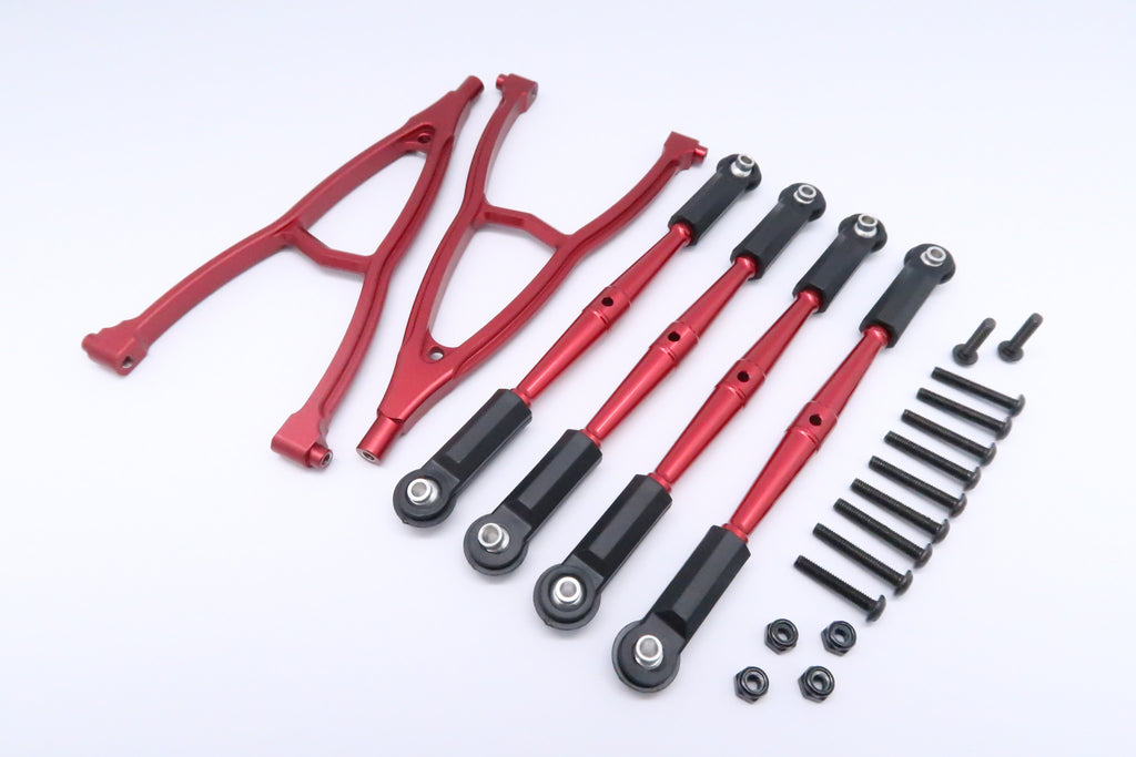 HPI Crawler King Aluminum Front+Rear Y Plate & Link Parts (For 295mm Wheelbase) - 6Pcs Set Red