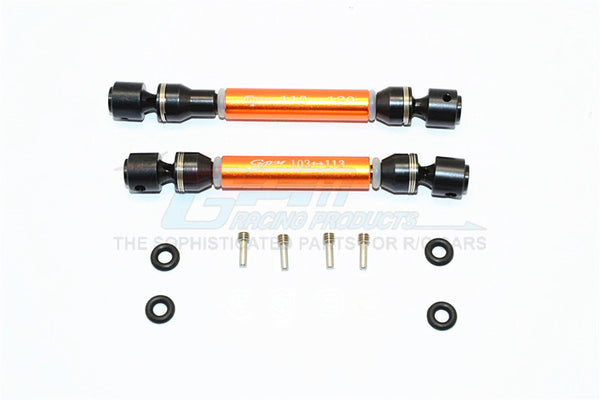 HPI Crawler King Steel+Aluminum Front & Rear Main Drive Shaft (F:103mm-113mm, R:110mm-120mm) - 2Pcs Set Orange