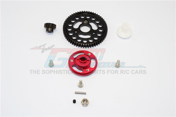 Traxxas Craniac Aluminum Spur Gear Adapter+Steel Gear 58T & 14T - 1 Set Red
