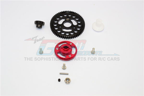 Traxxas Craniac Aluminum Spur Gear Adapter+Steel Gear 58T & 15T - 1 Set? Red