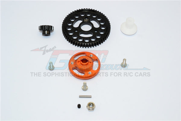 Traxxas Craniac Aluminum Spur Gear Adapter+Steel Gear 58T & 16T - 1 Set? Orange