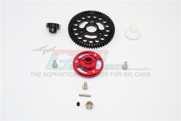 Traxxas Craniac Aluminum Spur Gear Adapter+Steel Gear 58T & 16T - 1 Set? Red