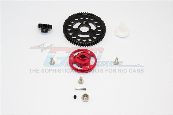 Traxxas Craniac Aluminum Spur Gear Adapter+Steel Gear 58T & 18T - 1 Set Red