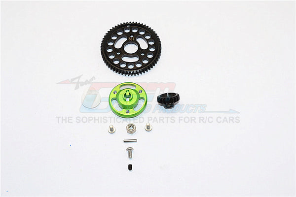 Traxxas Craniac Aluminum Spur Gear Adapter+Steel Gear 58T & 19T - 1 Set Green