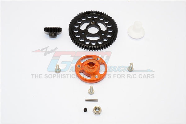 Traxxas Craniac Aluminum Spur Gear Adapter+Steel Gear 58T & 19T - 1 Set Orange