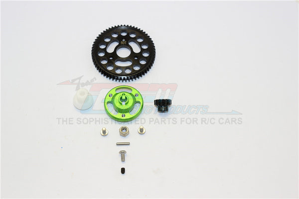 Traxxas Craniac Aluminum Spur Gear Adapter+Steel Gear 60T & 14T - 1 Set Green
