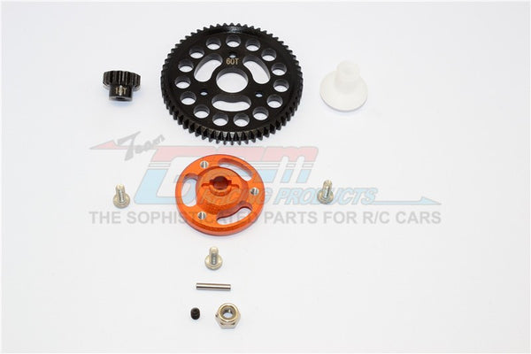 Traxxas Craniac Aluminum Spur Gear Adapter+Steel Gear 60T & 14T - 1 Set Orange