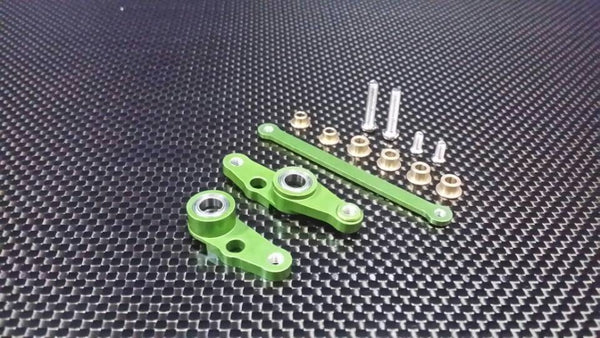 Tamiya DF01 / TA01 / TA02 / M1025 Aluminum Steering Assembly with Bearings - 1 Set Green
