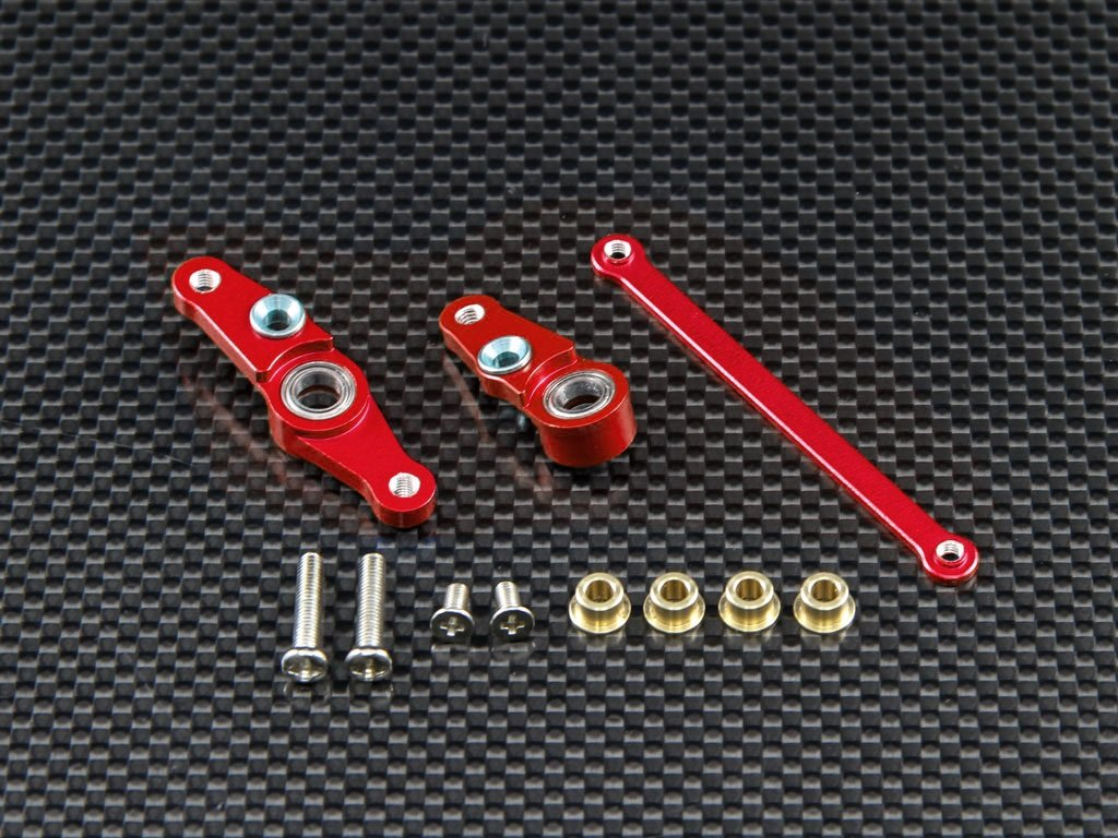 Tamiya DF01 / TA01 / TA02 / M1025 Aluminum Steering Assembly with Bearings - 1 Set Red