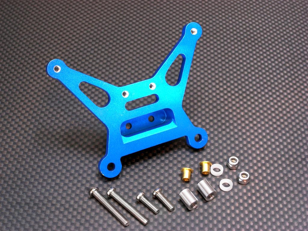 Tamiya DF-02 Aluminum Rear Shock Tower With Aluminum& Bronze Collars & 3mm Lock Nuts & Screws - 1Pc Set Blue