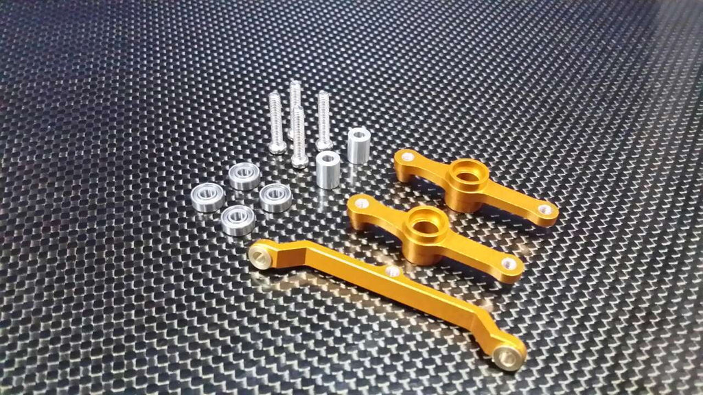 Tamiya DF-02 Aluminum Steering Assembly With Bearings - 3 Pcs Set Gold