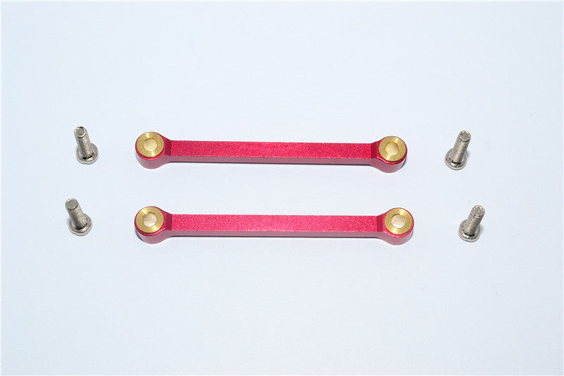 Tamiya DF-02 Aluminum Front Upper Arm (Tie Rod Design) With Screws & Bronze Collars - 1Pr Set Red