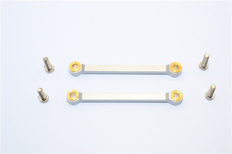 Tamiya DF-02 Aluminum Front Upper Arm (Tie Rod Design) With Screws & Bronze Collars - 1Pr Set Silver