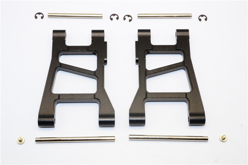 Tamiya DF-02 Aluminum Front Lower Arm With Pins & 2.5mm E-Clips & Delrin Collars & Screws - 1Pr Set Black
