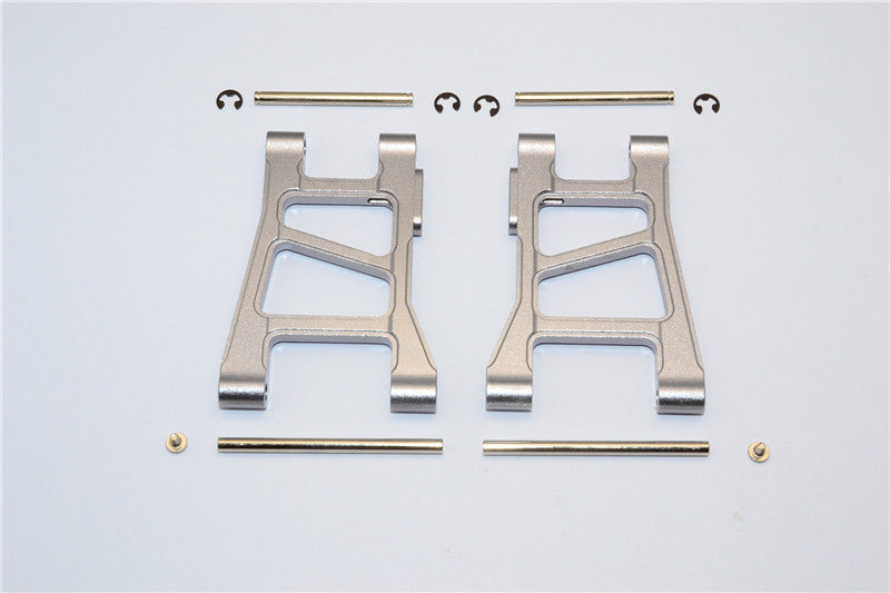 Tamiya DF-02 Aluminum Front Lower Arm With Pins & 2.5mm E-Clips & Delrin Collars & Screws - 1Pr Set Gray Silver