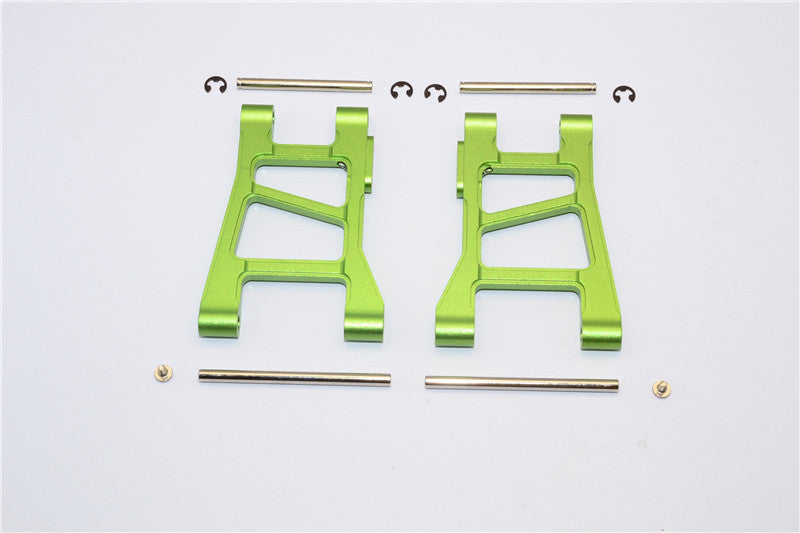 Tamiya DF-02 Aluminum Front Lower Arm With Pins & 2.5mm E-Clips & Delrin Collars & Screws - 1Pr Set Green
